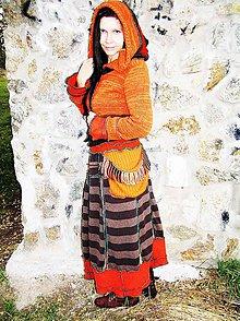 Svetre/Pulóvre - lelohrej tehlový sveter a sukňa plachtavá - 6017109_