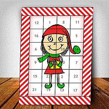 Dekorácie - Adventný kalendár Vianočný pajác pruhovaný 7 - 6018435_
