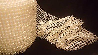 Galantéria - Ozdobná perličková stuha 96 mm krémová - cena za 10 cm - 6022884_