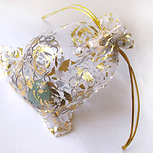 Obalový materiál - Organzové vrecúško 10x12cm s potlačou (Zlaté kvety/biele) - 6023041_