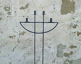 Svietidlá a sviečky - adventný svietnik kovový veľký - 6023629_