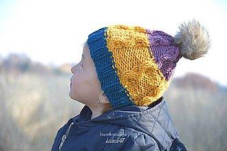 Detské čiapky - Zimná (jesenná) pletená čiapočka s brmbolcom ...