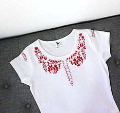 Tričká - ľudové tričko, vzor červený - 6026528_