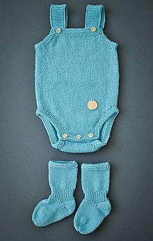 Detské oblečenie - Merino bodynko tyrkysové - 6026897_