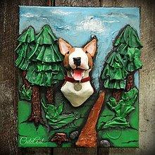 Obrázky - Bulteriér v lese - 3D obraz podľa fotografie - 6026949_