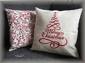 Úžitkový textil - Merry christmas so stromčekom (červený) - 6029764_