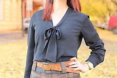 Košele - Čierna košeľa s viazačkou - 6030089_