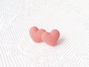 Náušnice - Little hearts earrings (salmon orange) - 6032432_