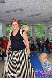 Tehotenské oblečenie - Prúžkovaná sukňa - 6034833_