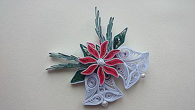 Dekorácie - Zvončeky s vianočnou ružou - 6034902_