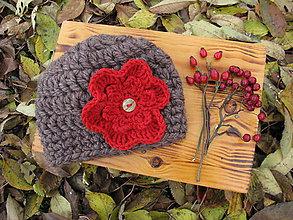 Detské čiapky - Detská čiapka s dvoma kvetmi - p - 6037814_