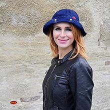 Čiapky - riflový modrý klobouk s ohrnutím, zvonek - 6038798_