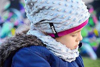 Detské súpravy - zimný set minky silver&fuchsia - 6036554_