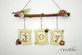 Dekorácie - Vianočné rámiky JOY (zelené) - 6041639_