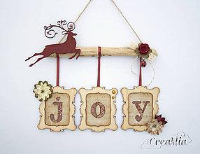 Dekorácie - Vianočné rámiky JOY (prírodné s bordovou) - 6041654_