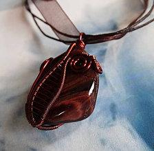 Náhrdelníky - Býčie oko - náhrdelník z medeného drôtu - 6042483_