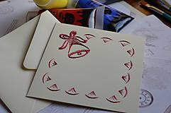 Papiernictvo - Vyšívaná pohľadnica - zvonček - 6042853_