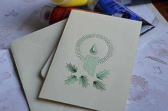 Papiernictvo - Vyšívaná pohľadnica - sviečka - 6042827_