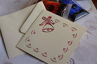Papiernictvo - Vyšívaná pohľadnica - zvonček (červený) - 6042854_