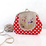 Peňaženky - Červené bodky s kvietkami - 6048705_