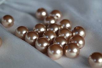 Korálky - Perly plastové champaigne 8mm, 0.30€/10ks - 6046501_