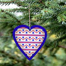 Dekorácie - Folk vianočné ozdoby 100% autorská tvorba (srdiečko 4) - 6046482_