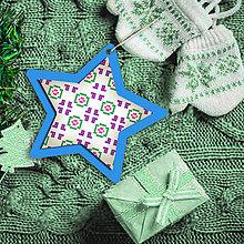Dekorácie - Folk vianočné ozdoby 100% autorská tvorba (hviezdička) - 6048782_