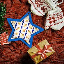 Dekorácie - Folk vianočné ozdoby 100% autorská tvorba (hviezdička 6) - 6049444_