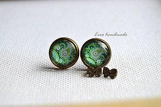 Náušnice - Zelené ornamenty / starobronzové lôžko / 12mm - 6050997_