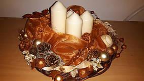 Dekorácie - Medené Vianoce adventný veniec - 6054971_