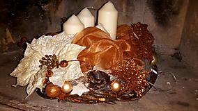 Dekorácie - Medené Vianoce adventný veniec - 6054972_