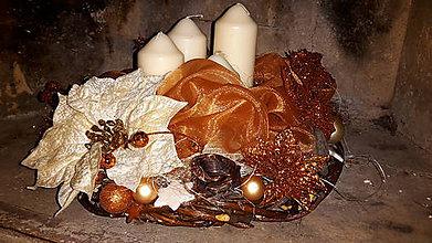 Dekorácie - Medené Vianoce adventný veniec - 6054954_