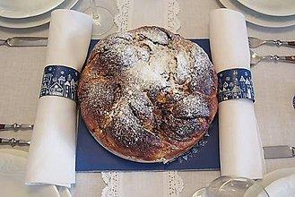 Pomôcky - Obrúčky na servítky modrá dedinka - 6053930_