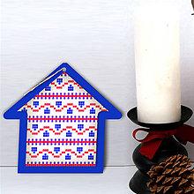 Dekorácie - Folk vianočné ozdoby 100% autorská tvorba (domček 5) - 6051199_