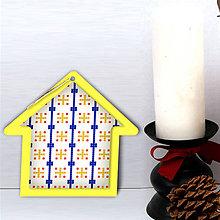 Dekorácie - Folk vianočné ozdoby 100% autorská tvorba (domček 7) - 6051206_