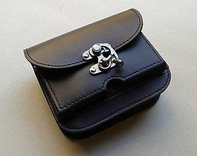 Tašky - Kožená kapsička na doklady a telefón pripavniteľná na opasok voľná - 6056794_