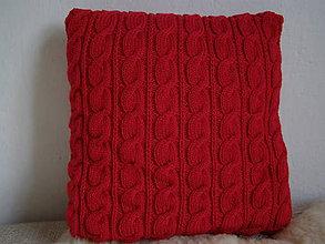 Úžitkový textil - pletený vankúš - BEZ ŽMOLKOV - červený - 6055949_