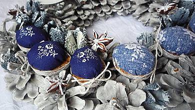 Dekorácie - Adventný veniec modrotlačový - 6056164_