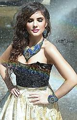 Náhrdelníky - Vyšívaný náhrdelník z hodvábu modrý - 6055183_