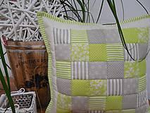 patchwork obliečka 40x40cm zelenkavá so sivo béžovou