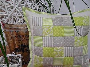 Úžitkový textil - Prehoz, vankúš patchwork vzor mentolovo-šedá,  ( rôzne varianty veľkostí ) - 6065567_