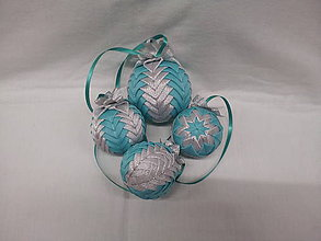 Dekorácie - vianočné gule - tyrkysové-strieborné - 6060292_