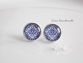 Náušnice - Modrý ornament - 12mm - 6066226_