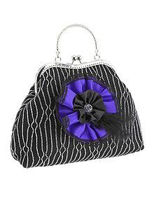 Kabelky - Spoločenská dámská kabelka čierno strieborná 03U - 6069587_