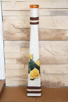 Dekorácie - Váza - žltá ruža - 6066378_