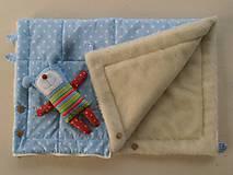 Textil - Merino Deka 75 x 105 cm bledomodrá hviezda - 6071860_
