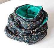 Šatky - zimná šatka cik-cak zelená - 6067686_