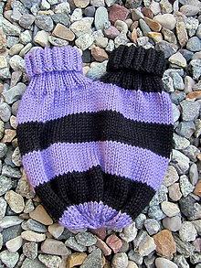 Rukavice - Dvojitá pletená rukavica fialovo-čierna - 6072373_