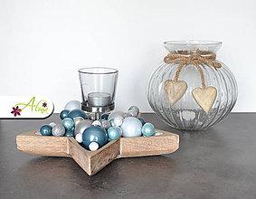 Svietidlá a sviečky - Vianočný svietnik v tvare hviezdy (Modrý) - 6067865_