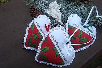 Dekorácie - Vianočné srdiečka - 6066095_